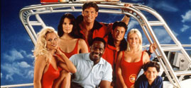 "Pamela Anderson with the cast on the set of ""Baywatch,"" season 2"