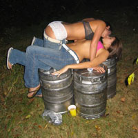college girls experimenting with kissing